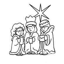 Dibujo para pintar los Reyes Magos y la estrella del pastor - Dibujos para Colorear y Pintar - Dibujos para colorear FIESTAS - Dibujos para colorear de NAVIDAD - Dibujos para colorear de los REYES MAGOS de Navidad - Dibujos REYES MAGOS oriente para colore