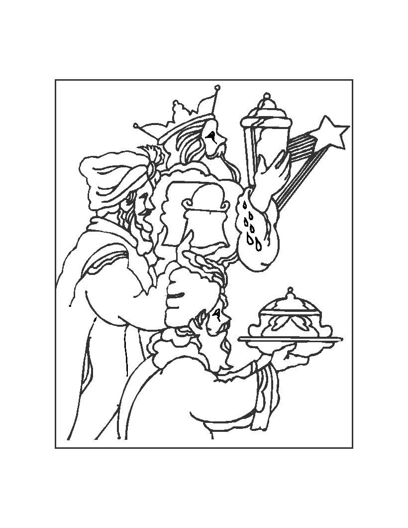 Dibujo para colorear : los Reyes Magos de rodillas