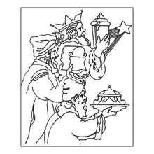 Dibujo para pintar los Reyes Magos de rodillas - Dibujos para Colorear y Pintar - Dibujos para colorear FIESTAS - Dibujos para colorear de NAVIDAD - Dibujos para colorear de los REYES MAGOS de Navidad - Dibujos REYES MAGOS oriente para colorear
