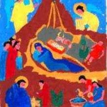 Ilustración : Dibujo infantil Navidad PORTAL DEL BELEN