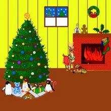 Ilustración : Dibujo infantil Navidad LA CHIMENEA