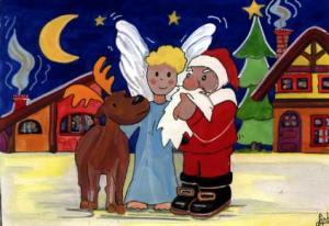 ilustracion-navidad-angel-papa-noel-infantil