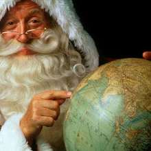 Fondo de pantalla papa noel globo terrestre