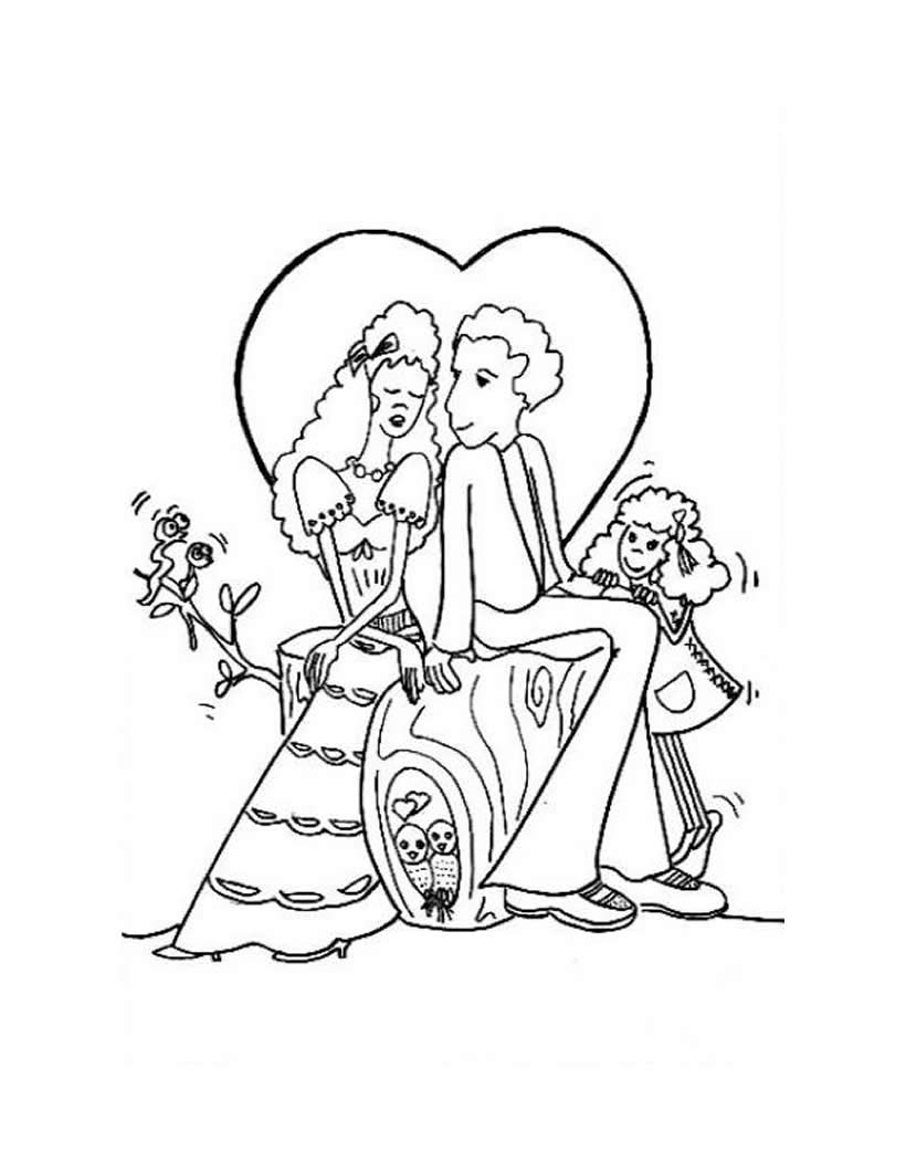 Dibujos para colorear los novios enamorados  eshellokidscom