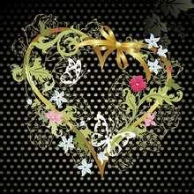 Fondo de pantalla : Corazón oro y negro