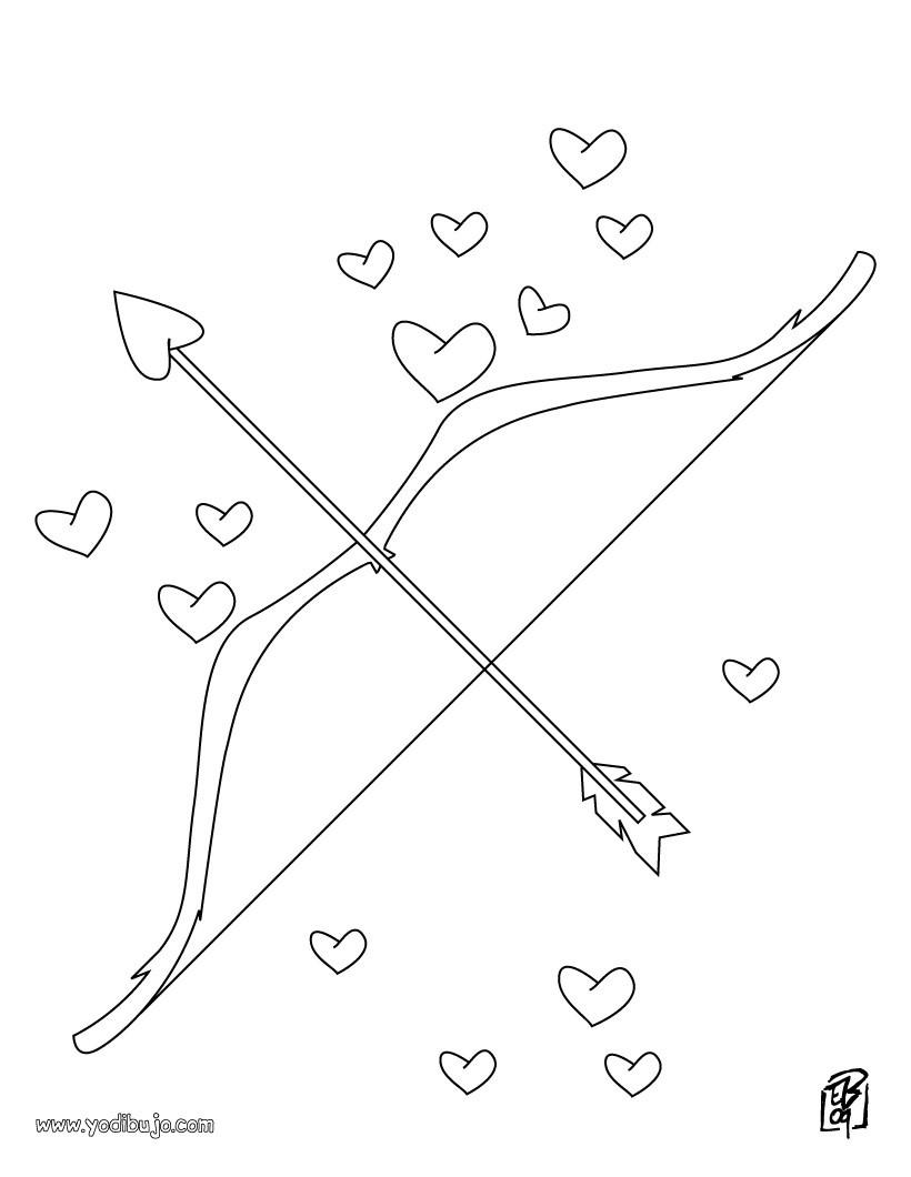 Dibujos para colorear arco y flechas del amor  eshellokidscom