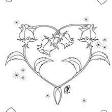 Dibujo para colorear : Flores y corazón