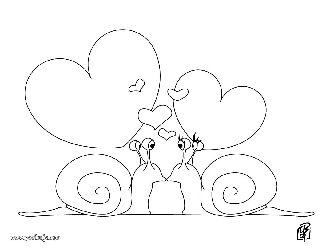 Dibujos para colorear corazón caracoles - es.hellokids.com