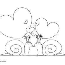 Dibujo para colorear : Corazón Caracoles