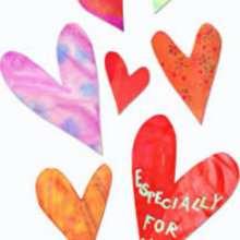 Manualidad infantil : Corazones multicolores