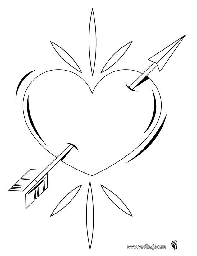 Dibujo para colorear : Flecha en el corazón