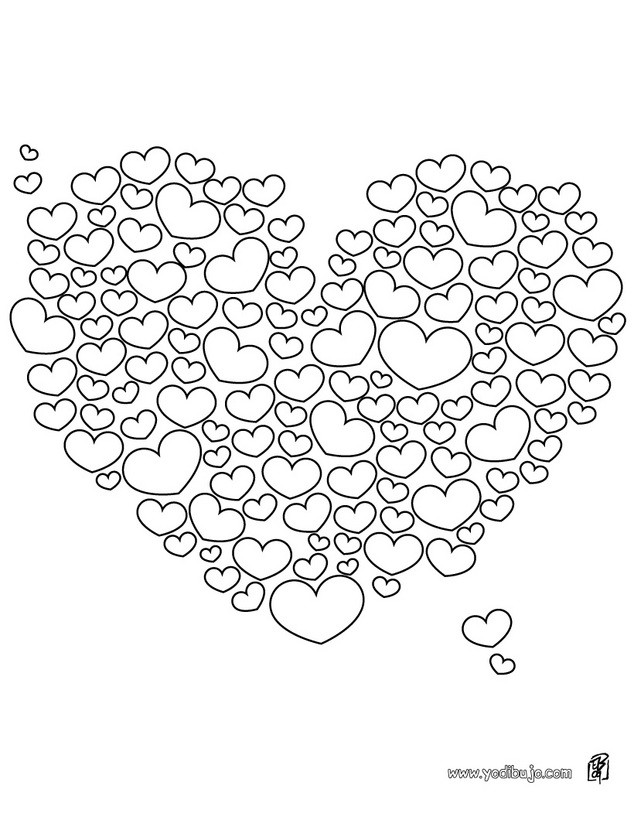 Dibujos para colorear 1000 corazones  eshellokidscom