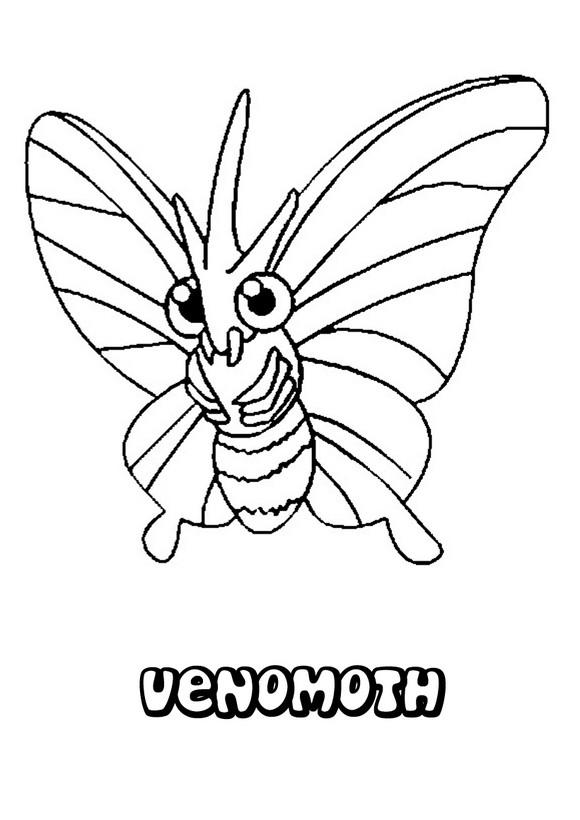 Caterpie Kleurplaat Dibujos Para Colorear Pokemon Venomoth Es Hellokids Com