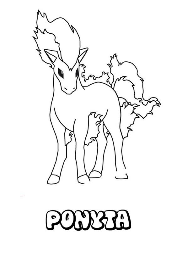 Dibujos para colorear POKEMON FUEGO, Pokemon Ponyta para imprimir