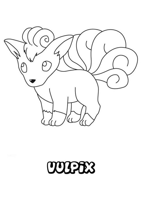 Dibujos para colorear POKEMON FUEGO, Pokemon Vulpix para imprimir