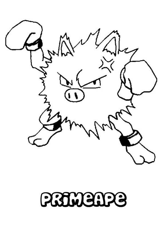 Dibujo Pokemon Primeape - Dibujos para pintar POKEMON LUCHA