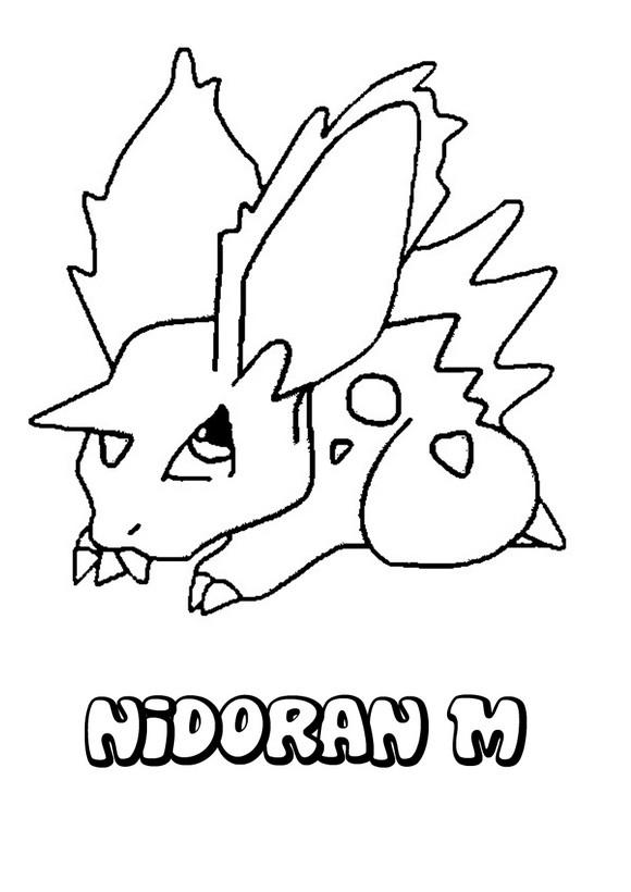 Dibujo para colorear : Pokemon Nidoran macho