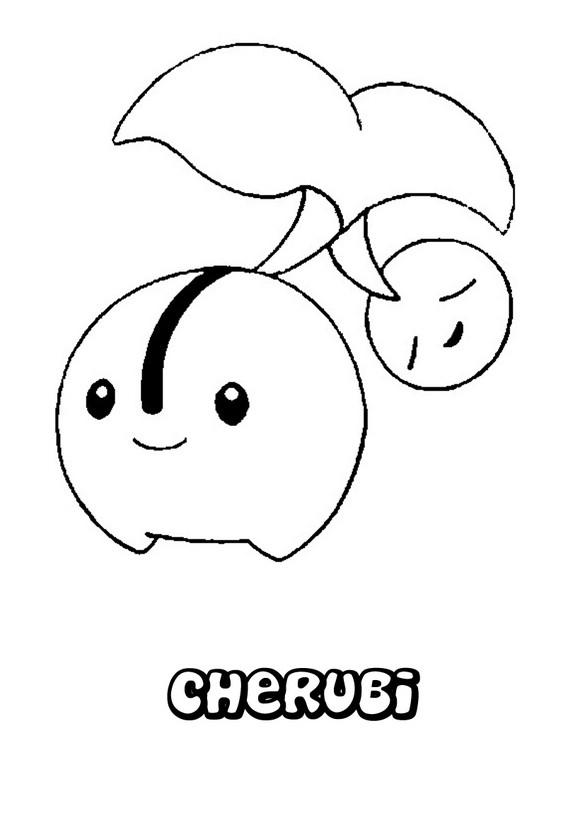 Dibujos para colorear POKEMON PLANTA, Pokemon Cherubi para imprimir