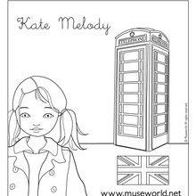 Dibujo para colorear KATE EN LONDRES - Dibujos para Colorear y Pintar - Dibujos para colorear PERSONAJES - Dibujos para colorear y pintar PERSONAJES - MUSEWORLD para colorear - Dibujos para colorear KATE MELODY EN LONDRES
