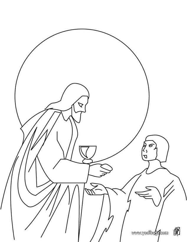 Dibujo para colorear : Jesús parte el pan