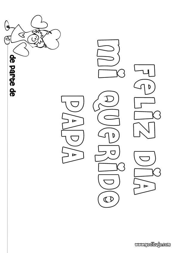 Dibujo para colorear : dia del padre MENSAJE NIÑA