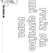 Dibujo dia del padre MENSAJE NIÑA - Dibujos para Colorear y Pintar - Dibujos para colorear FIESTAS - Dibujos para colorear DIA DEL PADRE