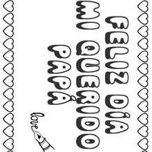 Dibujo dia del padre MENSAJE  - Dibujos para Colorear y Pintar - Dibujos para colorear FIESTAS - Dibujos para colorear DIA DEL PADRE