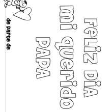 Dibujo dia del padre MENSAJE NIÑO - Dibujos para Colorear y Pintar - Dibujos para colorear FIESTAS - Dibujos para colorear DIA DEL PADRE