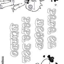Dibujo para colorear : dia del padre NIÑO MENSAJE