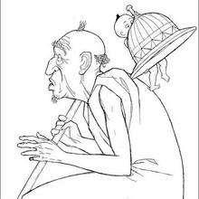 Dibujo para pintar anciano poblano - Dibujos para Colorear y Pintar - Dibujos de PELICULAS colorear - Dibujos para colorear KIRIKU  - Dibujos para pintar y colorear KIRIKU