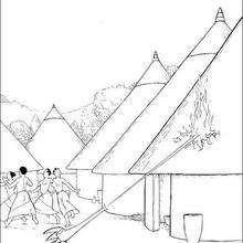Dibujo del pueblo de kiriku invadido por los fetiches - Dibujos para Colorear y Pintar - Dibujos de PELICULAS colorear - Dibujos para colorear KIRIKU  - Dibujos para colorear KIRIKU Y LA BRUJA