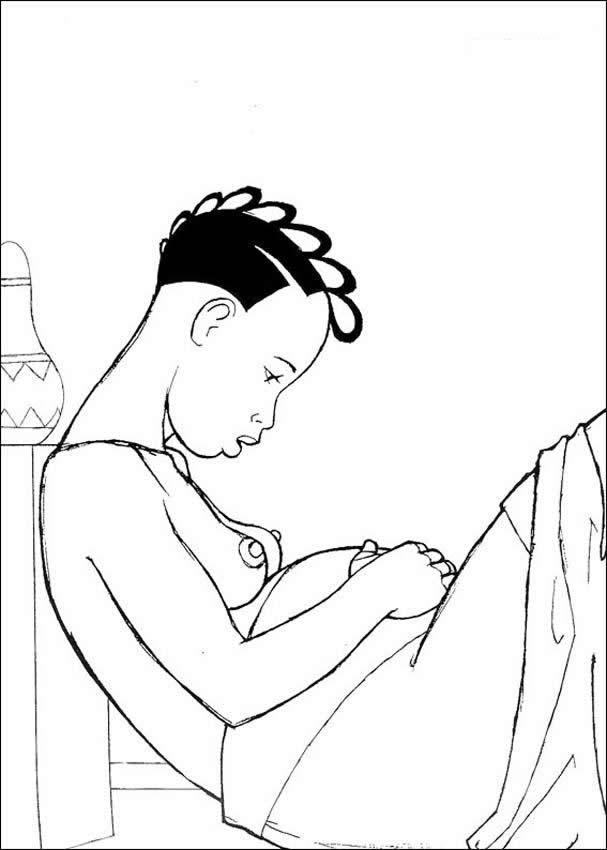 Dibujo para colorear : mama de kiriku embarazada
