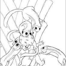 Dibujo para colorear : kiriku con ardillas