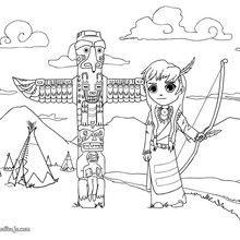 Dibujo para colorear un totem indio - Dibujos para Colorear y Pintar - Dibujos para colorear PERSONAJES - Vaqueros e indios: dibujos para pintar