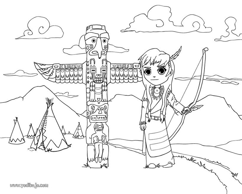 Dibujos para colorear un totem indio - es.hellokids.com