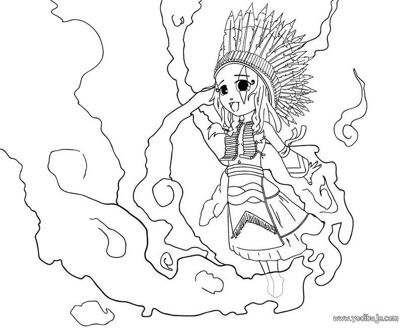 Dibujos para colorear una india sioux - es.hellokids.com