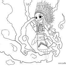 Dibujo para colorear una india sioux - Dibujos para Colorear y Pintar - Dibujos para colorear PERSONAJES - Vaqueros e indios: dibujos para pintar