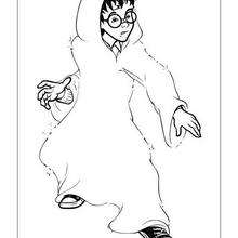 Dibujo para colorear : Harry Potter con su capa de invisibilidad
