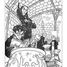 Dibujo de Severus Snape con Harry Potter - Dibujos para Colorear y Pintar - Dibujos de PELICULAS colorear - Dibujos para colorear HARRY POTTER - Dibujos para colorear e imprimir HARRY POTTER