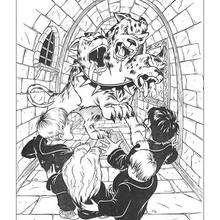 Dibujo Harry Potter contra el perro de tres cabezas - Dibujos para Colorear y Pintar - Dibujos de PELICULAS colorear - Dibujos para colorear HARRY POTTER - Dibujos para pintar HARRY POTTER