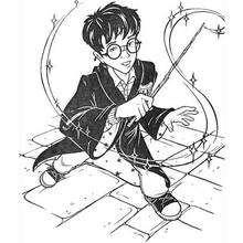 Dibujo de Harry Potter con su varita mágica - Dibujos para Colorear y Pintar - Dibujos de PELICULAS colorear - Dibujos para colorear HARRY POTTER - Dibujos para pintar HARRY POTTER