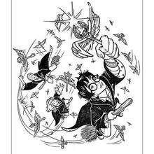Dibujo para colorear : Ron jugando Quidditch