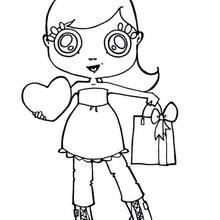 Dibujo dia de la madre NIÑA CORAZON - Dibujos para Colorear y Pintar - Dibujos para colorear FIESTAS - Dibujos para colorear DIA DE LA MADRE