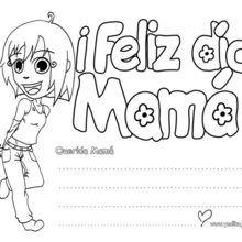 Dibujo para colorear : dia de la madre CARTEL NIÑA