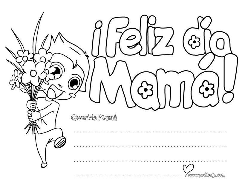 Dibujo para colorear : Mensaje Día de la madre