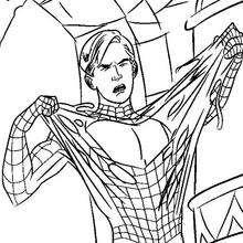 Dibujo para colorear : Peter Parker salvandose del veneno