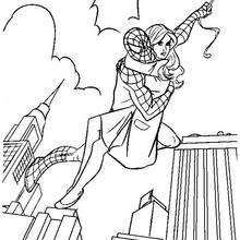 Dibujo para colorear : Spiderman y Mary Jane