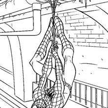 Dibujo para colorear : Spiderman en el metro