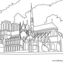 Dibujo para colorear NOTRE DAME DE PARIS - Dibujos para Colorear y Pintar - Dibujos para colorear los PAISES - FRANCIA para colorear - Dibujos para colorear MONUMENTOS PARIS