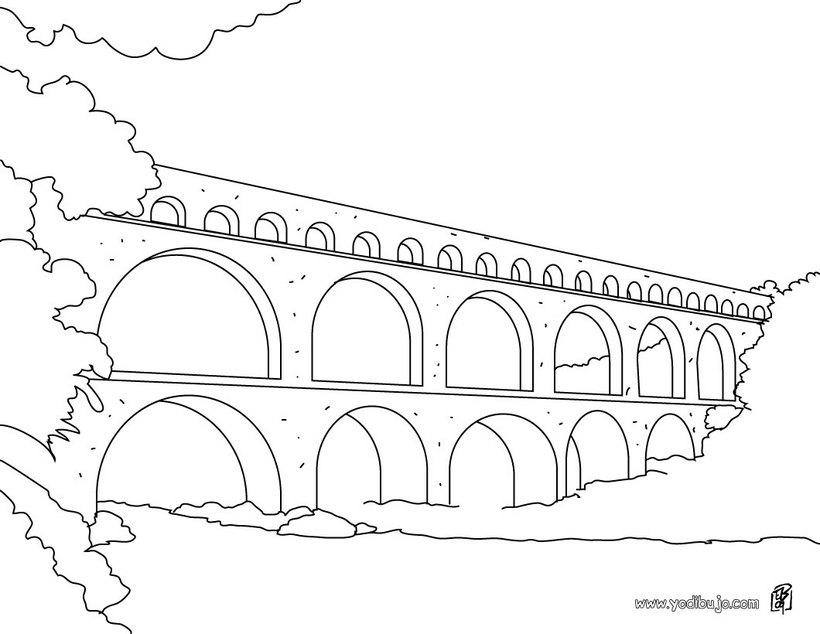 Dibujos para colorear puente del gard  eshellokidscom